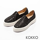 KOKKO -晶亮奇蹟彩鑽彈力厚底休閒鞋-閃耀黑