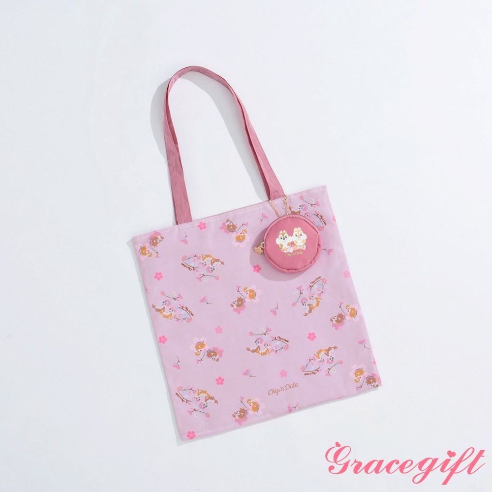 Disney collection by gracegift-櫻花奇奇蒂蒂收納手提袋 粉