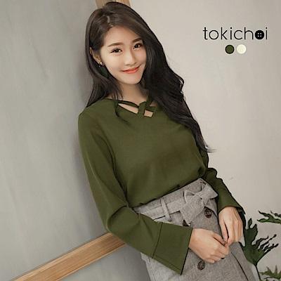 東京著衣 優雅時髦交叉領型設計長袖上衣-S.M(共二色)