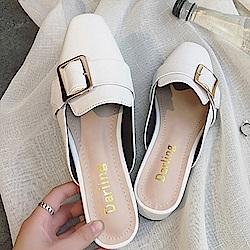 韓國KW美鞋館 歡樂單品簡約優雅平底拖鞋-白色