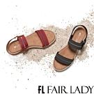 「時時樂限定」鬆緊寬帶一字厚底涼鞋 2色