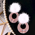 Hera 赫拉 貂毛球格子復古耳飾-2款