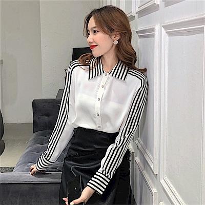 DABI 韓國風優雅條紋拼接襯衫簡約百搭雪紡衫長袖上衣