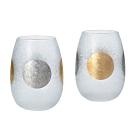 日本ADERIA 日月金箔磨砂玻璃對杯組315ml