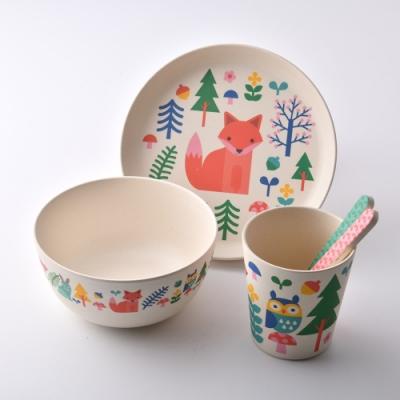 英國Wild&Wolf Petit Collage 兒童餐具禮盒組 5件組 森林