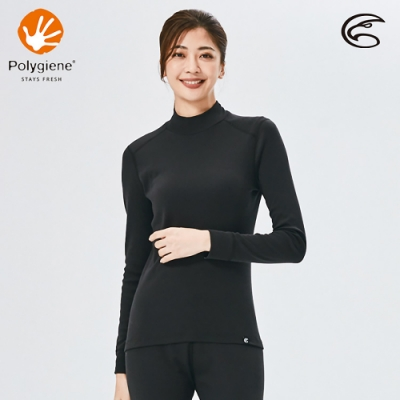 ADISI 女小高領抑菌消臭抗靜電保暖衣AU2021005 / 正黑色