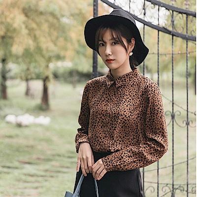 質感滿版小豹紋印花襯衫-OB大尺碼