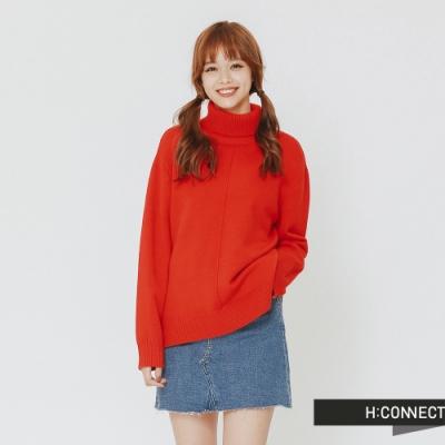 H:CONNECT 韓國品牌 女裝 - 純色質感高領針織上衣-紅(快)