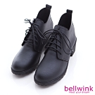 bellwink-日系抽綁繩皮革低跟靴-黑-b1016bk