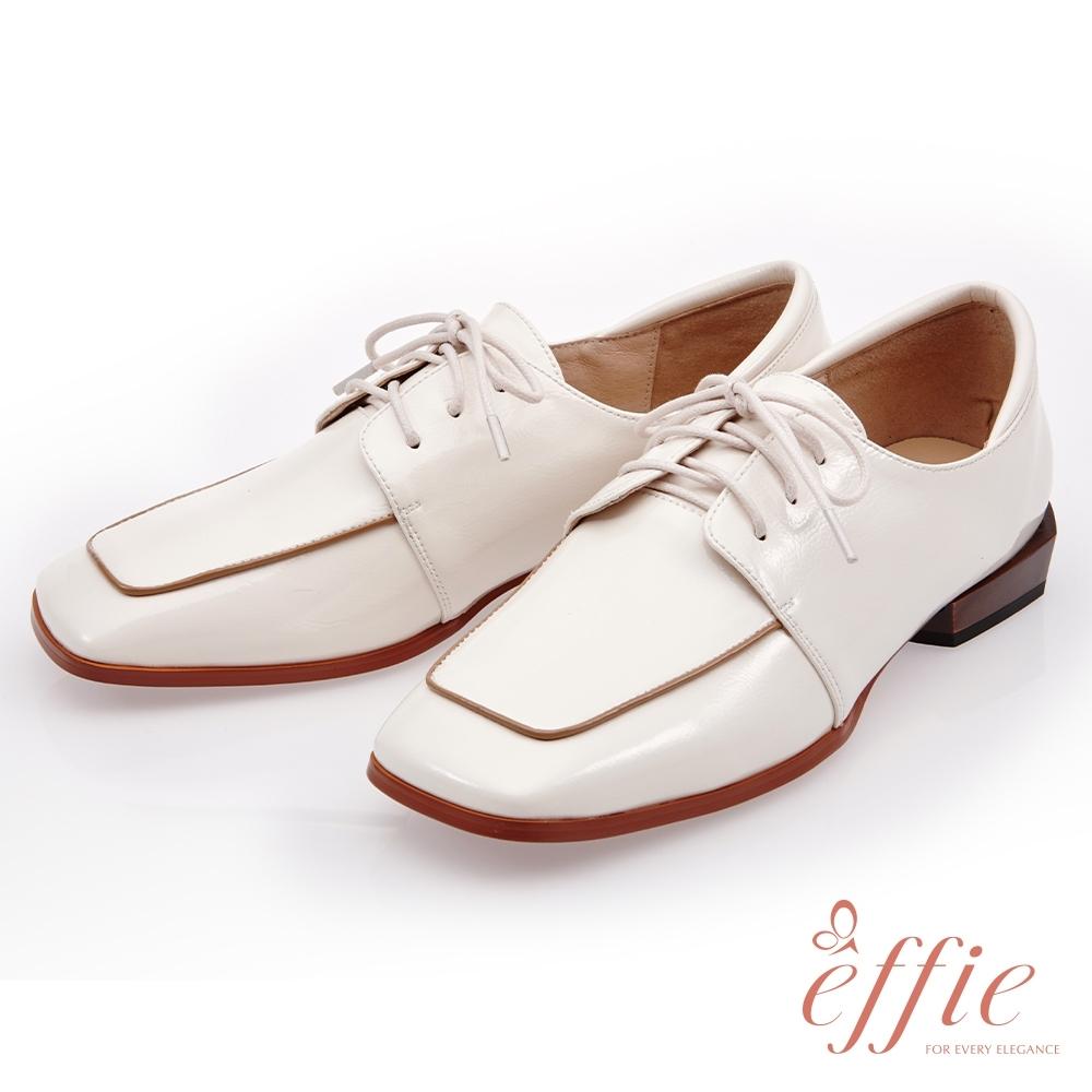effie 簡意時尚-柔軟鏡面牛皮綁帶低跟鞋(網獨款)-米