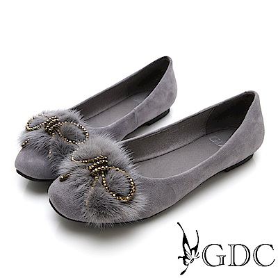 GDC-真皮早秋復古毛絨蝴蝶結平底包鞋-灰色