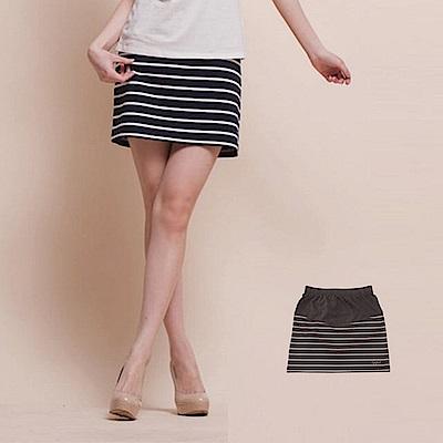 【TOP GIRL】微笑女孩條紋針織短裙-鐵灰