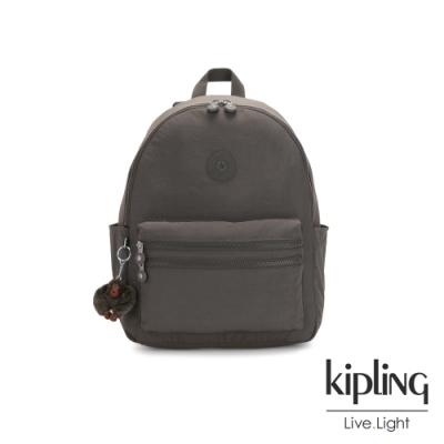 Kipling 極簡深卡其灰色拉鍊後背包-BOUREE