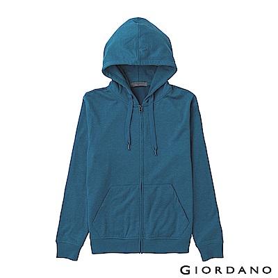 GIORDANO 男裝素色輕磨毛休閒連帽外套-16 雪花摩洛哥藍