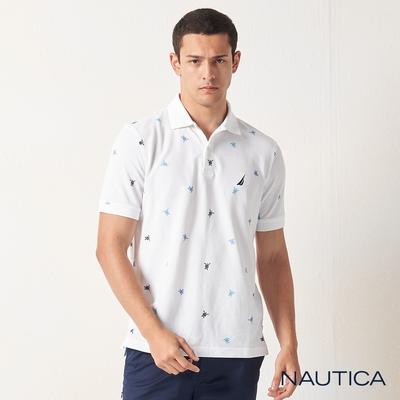 Nautica多彩海龜吸濕快乾短袖POLO衫-白