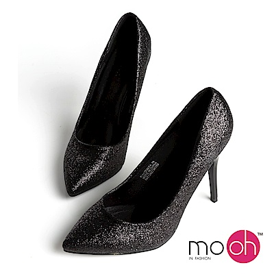 mo.oh-尖頭細跟亮片高跟鞋婚鞋-黑色