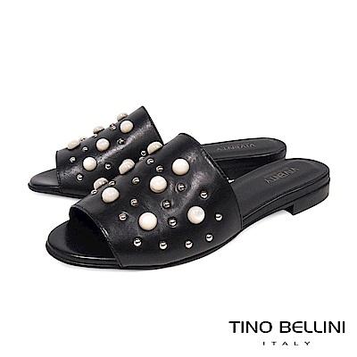 Tino Bellini 義大利進口珍珠MIX鉚釘真皮涼拖鞋 _ 黑