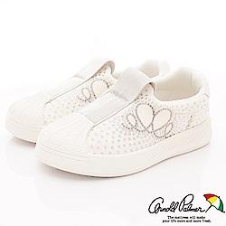 雨傘牌 專櫃亮鑽貝殼休閒鞋款 EI93651白(中小童段)