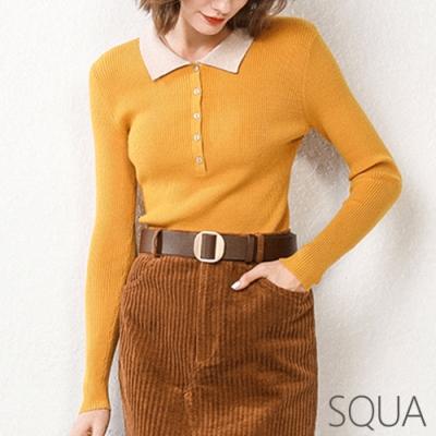 SQUA 合身撞色領口針織上衣-三色-(S~L)
