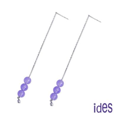 ides愛蒂思 設計款東方系列天然玉髓耳環/紫玉隨耳線