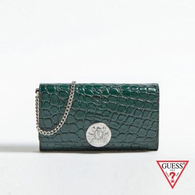 GUESS-女包-鱷魚皮壓紋鍊條錢包-綠