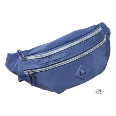 【Misstery】經典設計熱壓面料防水休閒腰包-藍