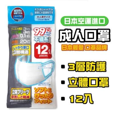 成人用 三層不織布 衛生口罩(12枚/包)x1