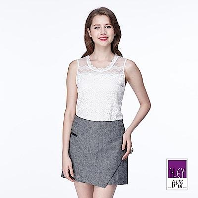 ILEY伊蕾 縫珠蕾絲剪接針織背心(黑/白)