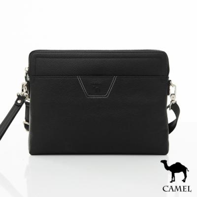 CAMEL - 商務潮流荔枝紋牛皮手拿側背包
