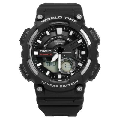 CASIO 卡西歐潮流雙顯橡膠腕錶-黑色/46mm