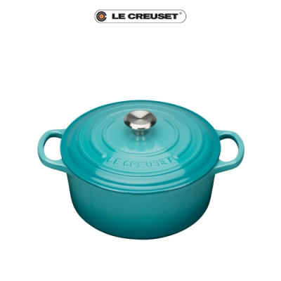 LE CREUSET典藏琺瑯鑄鐵圓鍋18cm(加勒比海藍)鋼頭