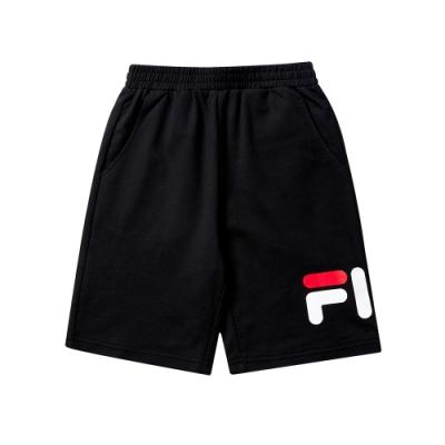 FILA KIDS #WONNIE系列五分針織短褲-黑色1SHT-8453-BK