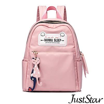 Just Star 瞌睡貓吊飾後背包 夢幻粉