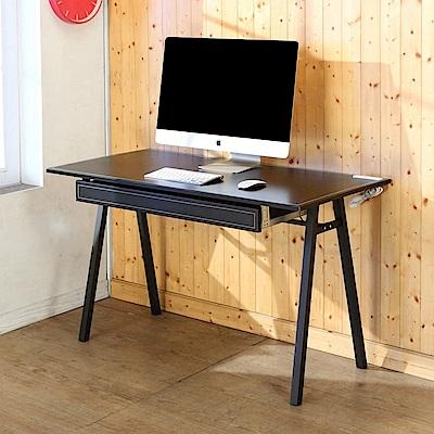 BuyJM仿馬鞍皮附插座抽屜A字工作桌/電腦桌/120x60x75公分