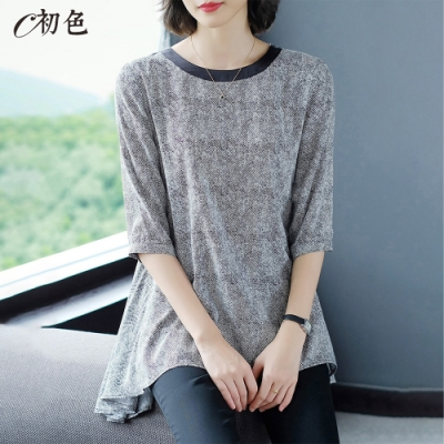 初色  七分袖長版條紋雪紡衫-黑色-(M-2XL可選)