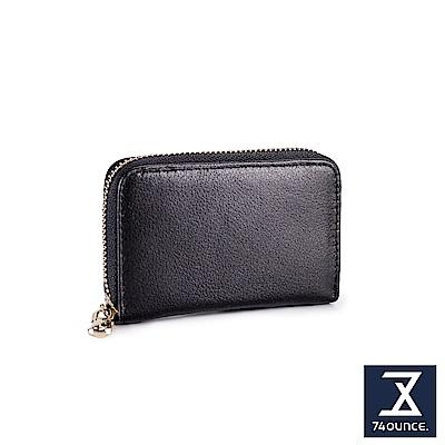 74盎司 簡約真皮防RFID功能卡片包[LN-736]黑