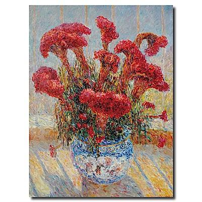 橙品油畫布-單聯式直幅 掛畫無框畫-紅夫人-30x40cm