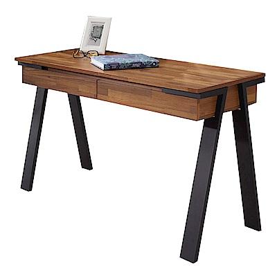 文創集 洛克工業風4尺二抽書桌/電腦桌-120x50x75cm免組