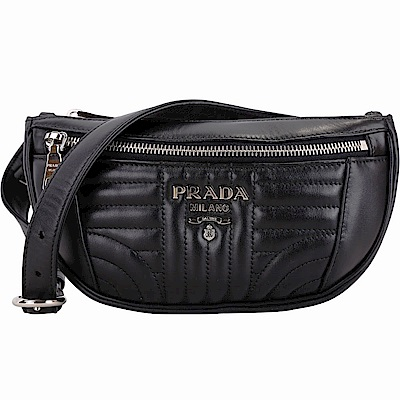 PRADA Diagramme 絎縫小牛皮胸肩/腰包(黑色)