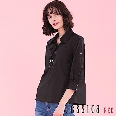 JESSICA RED - 綁帶設計造型襯衫上衣(黑)