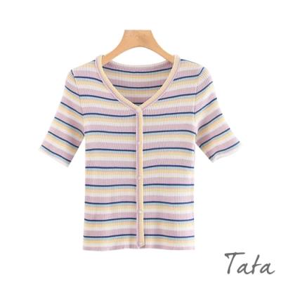 彩色條紋V領針織上衣 TATA-F