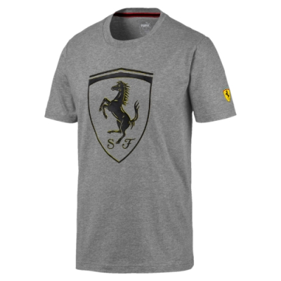 PUMA-男性法拉利車迷系列大盾短袖T恤-中麻花灰-歐規