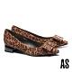 低跟鞋 AS 時髦氣質扁平蝴蝶結全真皮尖頭低跟鞋-豹紋 product thumbnail 1
