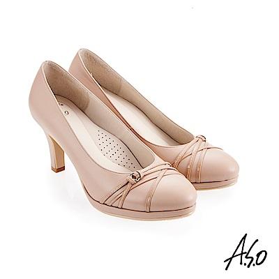 A.S.O 義式簡約 職場通勤女神專屬高跟鞋 膚色