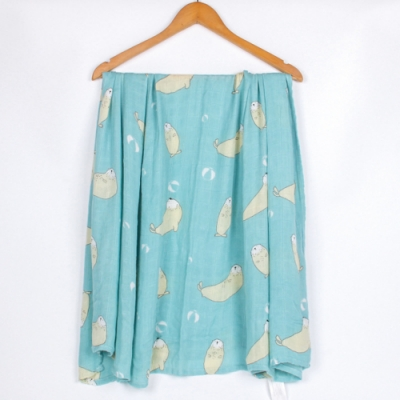 Muslintree雙層紗布包巾竹纖維新生兒蓋毯寶寶包被【2條入】