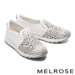 休閒鞋 MELROSE 率性混搭編織造型全真皮厚底休閒鞋-蛇紋