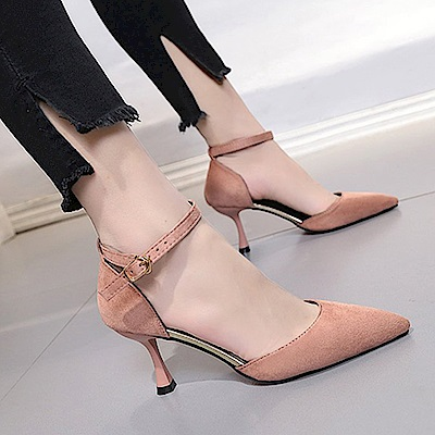 KEITH-WILL時尚鞋館 明星同款波濤花香小尖細跟鞋-粉