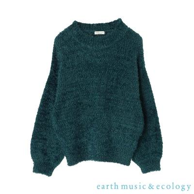 earth music 柔軟毛絨絨蓬袖針織上衣