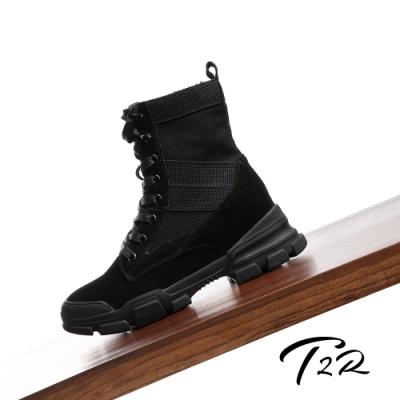 T2R-正韓空運-真皮女款真皮帆布高筒靴-隱形增高鞋-增高7公分-黑