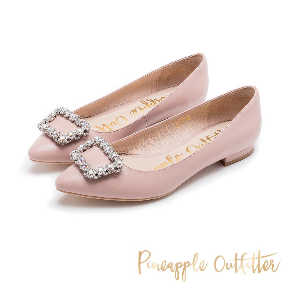 Pineapple Outfitter 奢華美型 水鑽方扣真皮低跟鞋-粉色